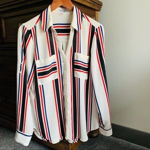 Express The Portofino Striped Button Front Shirt